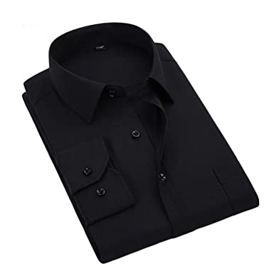 Joshua Sanchez Long Sleeve Men Black Formal Dress Shirts Big Size Office  Clothing Black Xs 37 0b79429db48d8