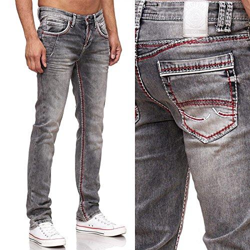 8323-45 Herren Jeans Hose Dunkel Schwarz Kontrast Naht Weiß Used Look Verwaschen