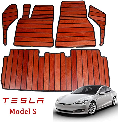 Conral Natürliches Holz Fußmatten Set Für Tesla Model S Allwetter Fußmatte Harmloser Umweltfreundlicher Materialteppich Autoinnenausstattung A Garten