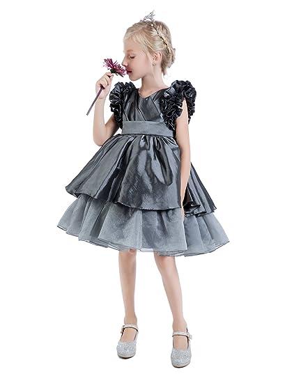 b6b537c3e105d Castle Fairy Girls ruffler Pleated Fashion Knee Length Cupcake Pageant Prom  Dresses 02 Grey