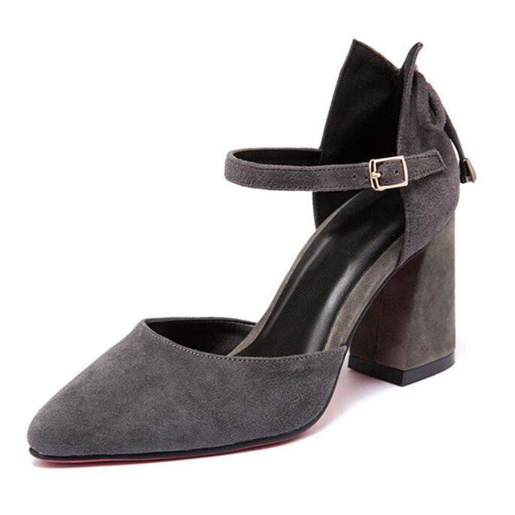 MUMA Pumps Hohle hochhackige Sandalen weibliche 2018 Frühjahr Sommer Neue schwarz grau Tipps dick mit Damenschuhe Elegante Baotou einzelne Schuhe (Farbe   Grau, größe   EU36 UK4 CN36)