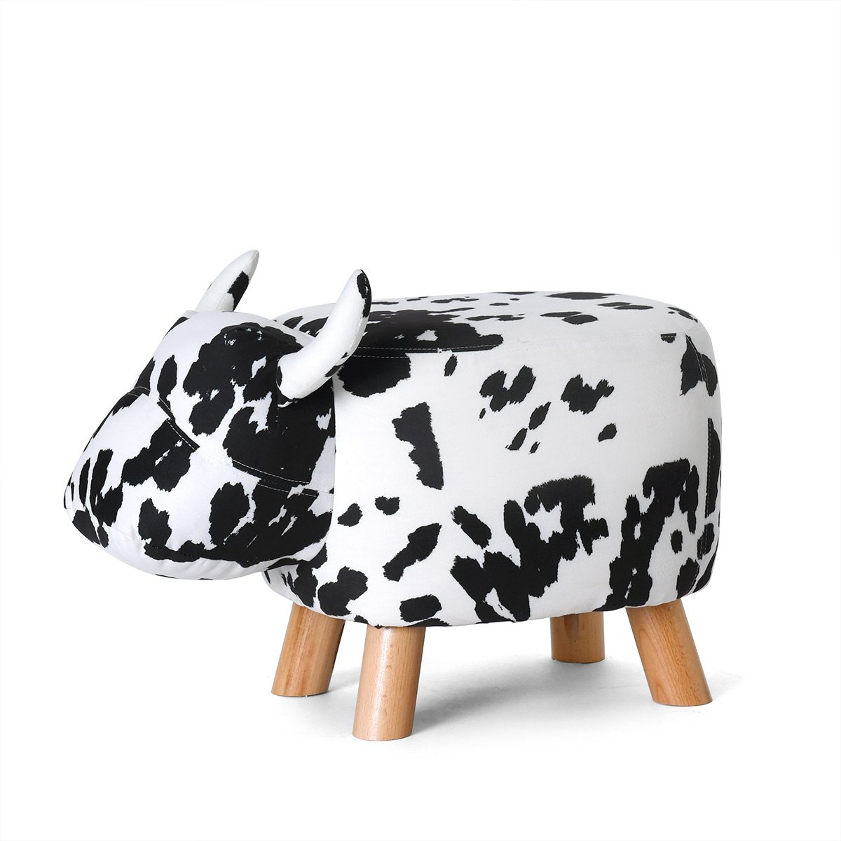 Fjfz Decorative Ottoman Stool Cow Figure Shoe-changing Bench for Kids Toy Living Room Furniture with 4 Beech Wood Legs and Leather Cover, 24 X 13, Black and White