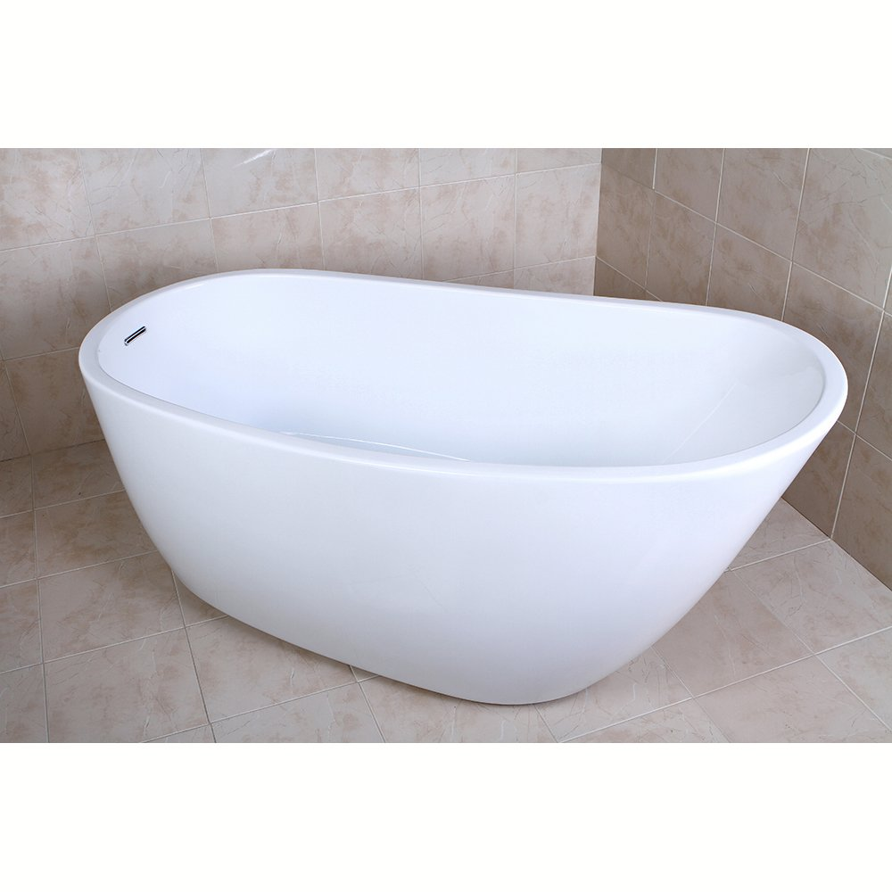 KINGSTON BRASS VTRS592928 59-Inch Contemporary Freestanding Acrylic Bathtub, White
