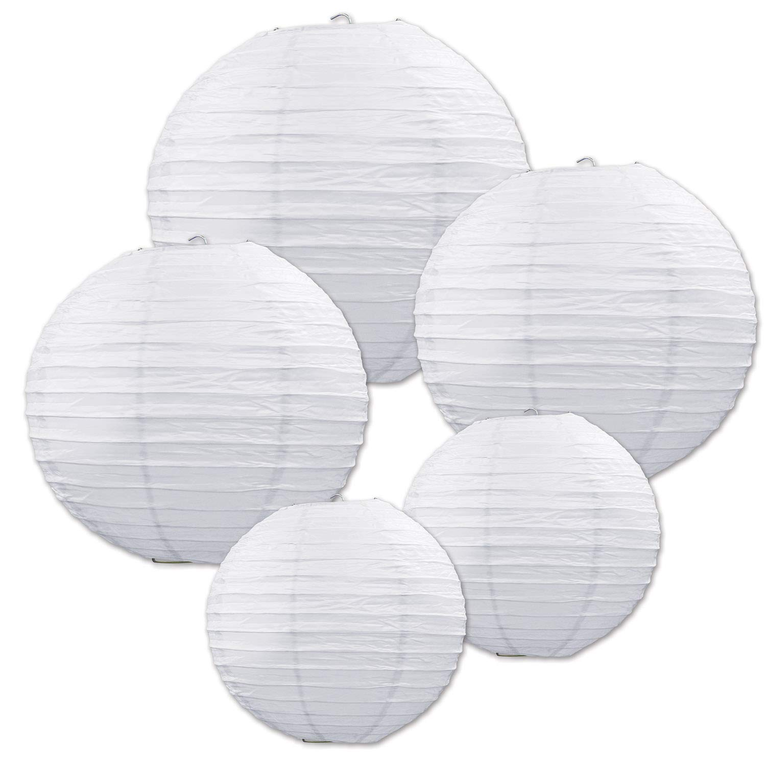 Beistle Wedding Decorations Paper Lanterns, White Assortment Paper Lanterns 6 Inch, 8 Inch and 9.5 Inch, Pack 30