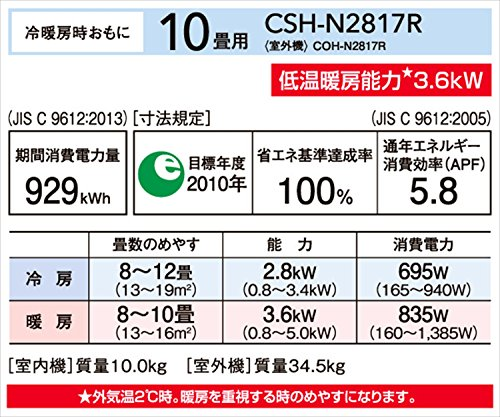 冷暖房 エアコン Nシリーズ (おもに10畳用) 室内機室外機セット CSH-N2817R(W)/COH-N2817R