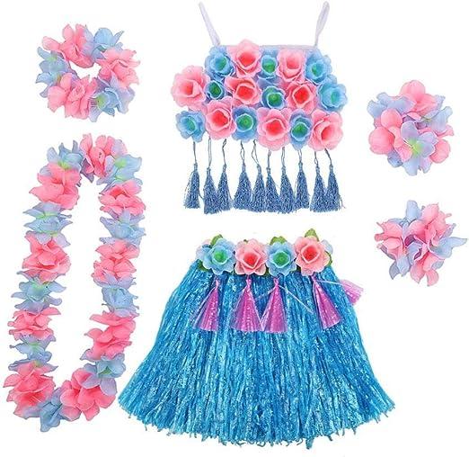 Rlorie - Juego de 6 Disfraz Hawaiano para Mujer, Chica, Hula ...