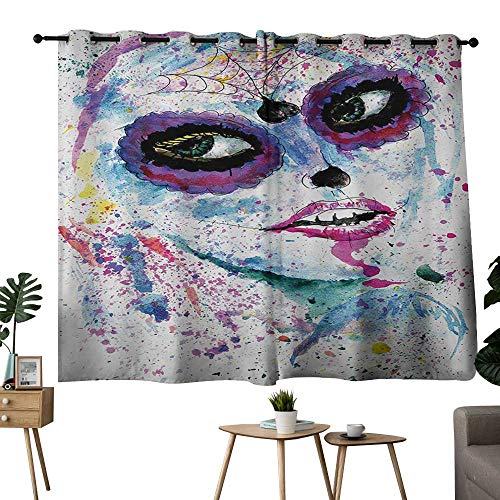 NUOMANAN Pattern Curtains Girls,Grunge Halloween Lady with Sugar Skull Make Up Creepy Dead Face Gothic Woman Artsy,Blue Purple,Room Darkening Waterproof Curtains for Bathroom 42