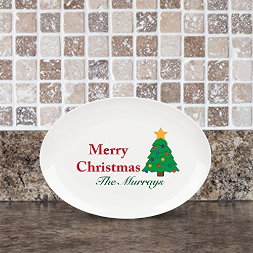 Personalized Family Name Merry Christmas Platter