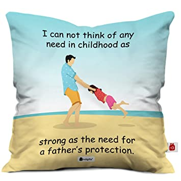 Indigifts Dad Birthday Gifts From Daughter To Papa Multi Cushion Cover 12x12 Inches With Filler