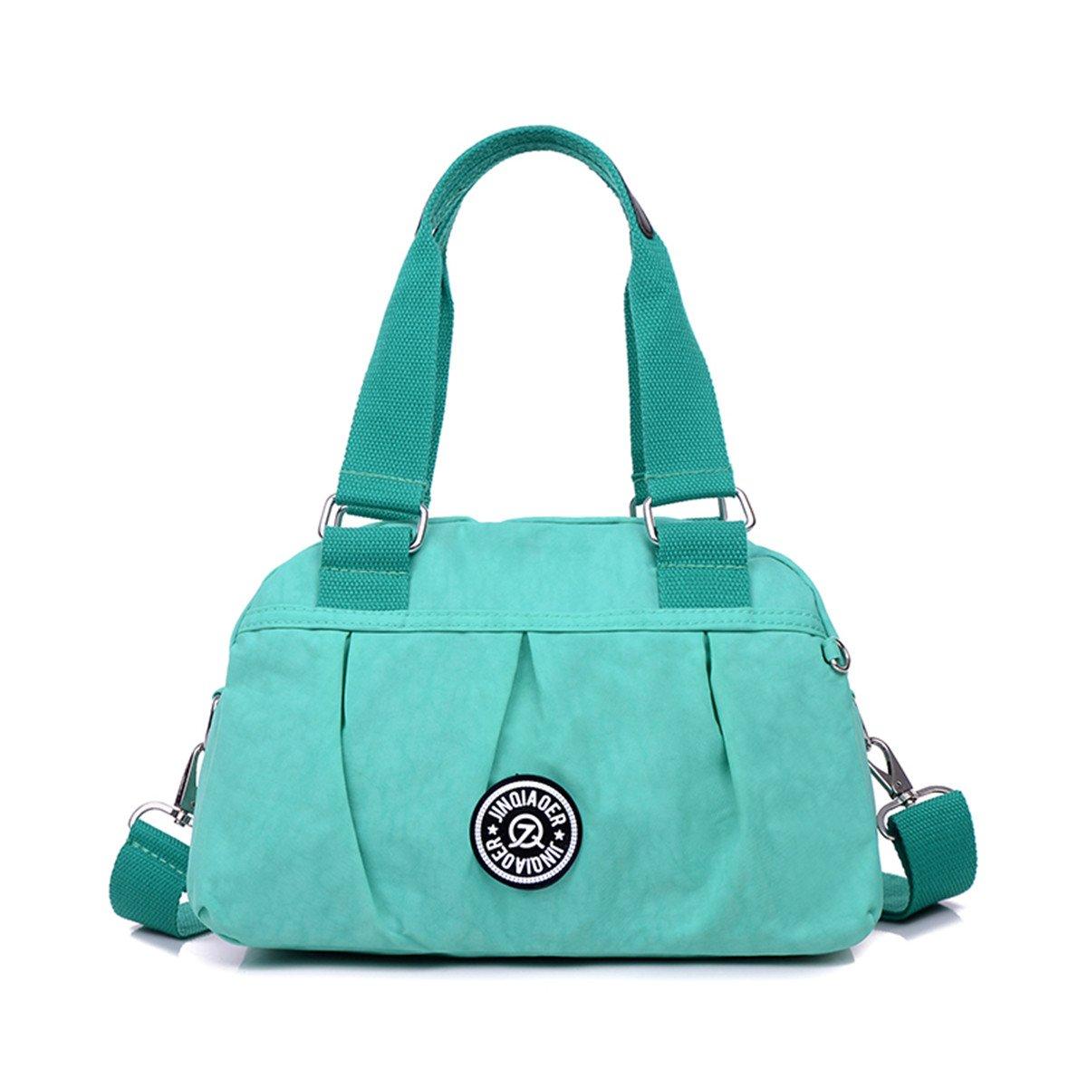 Tiny Chou Pure Color Water Resistant Nylon Satchel Handbag Lightweight Crossbody Messenger Bag