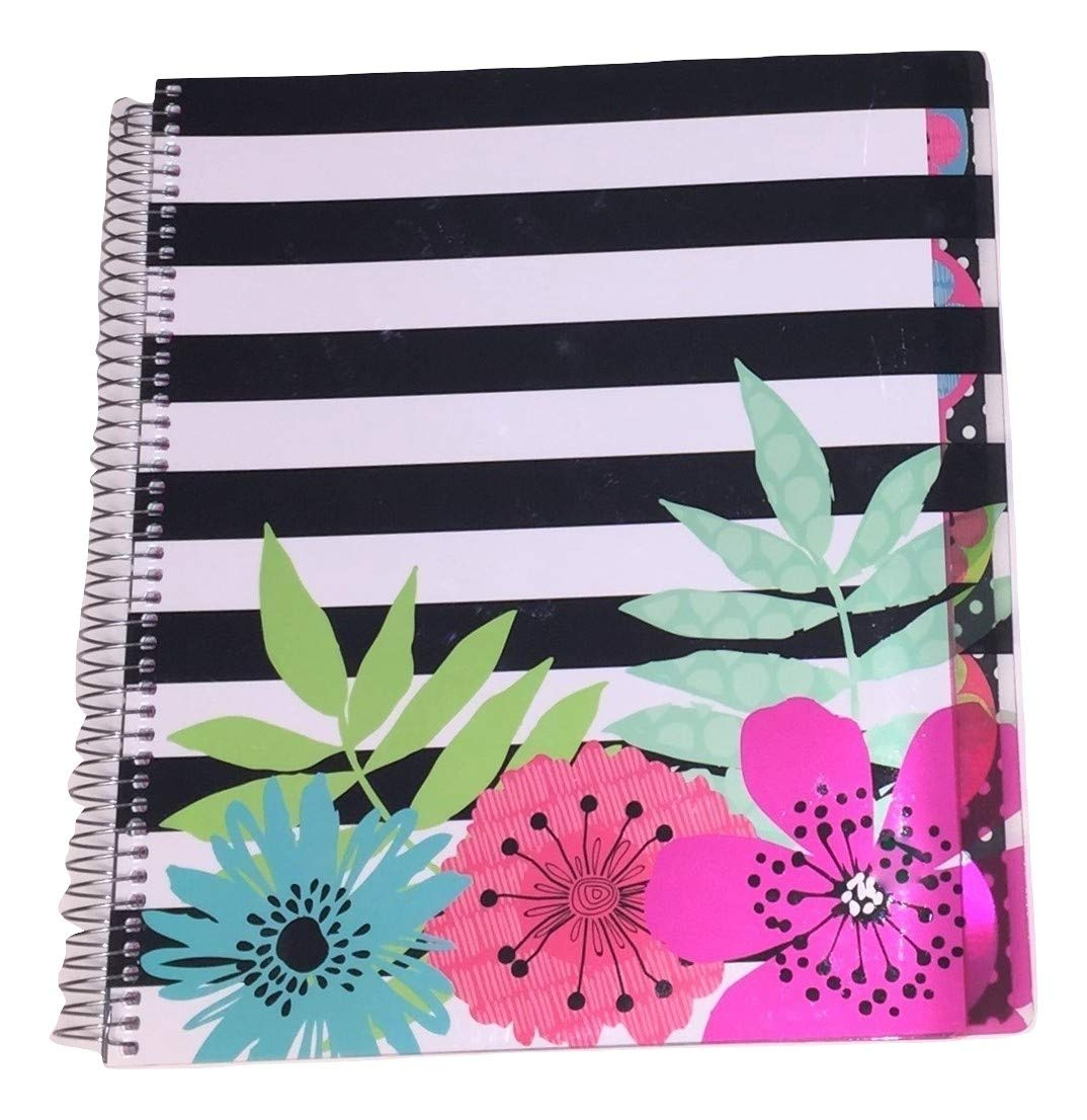 Studio C Carolina Pad College Ruled Poly Cover 5-Subject Spiral Notebook ~ Sugarland (Flower Collage on Black Stripes; 150 Sheets, 300 Pages)