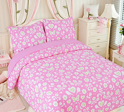 Cozy Line Home Fashions Goodnight Sweety Heart Quilt Bedding Set, Butterfly Flower Pink Green Printed 100% Cotton Reversible Coverlet Bedspread, Gifts for Kids, Little Girl (Full/Queen - 3 Piece)