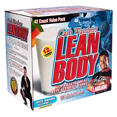 Labrada Nutrition Watchers Carb Lean Body Salut-Protein Agiter le substitut de repas, crème glacée à la vanille, 2,29-Oz. Les paquets (paquet de 42)