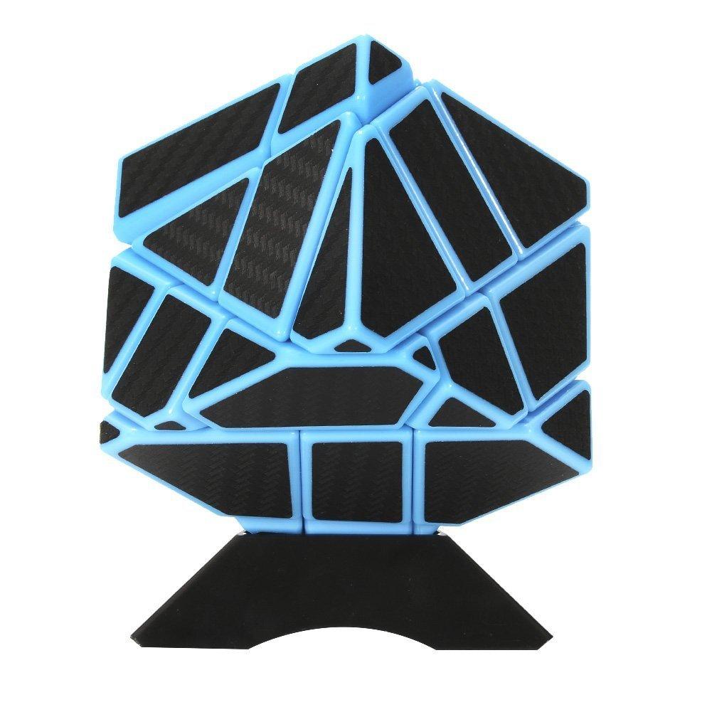 ThinkMax 3x3 Ghost Cube Erweiterte Rubiks Cube Magic Speed Rubix Wü rfel Gehirn Teaser Intelligenz Puzzles mit 1 Cube Stä nder fü r Kinder Erwachsene (Blau & Schwarz)