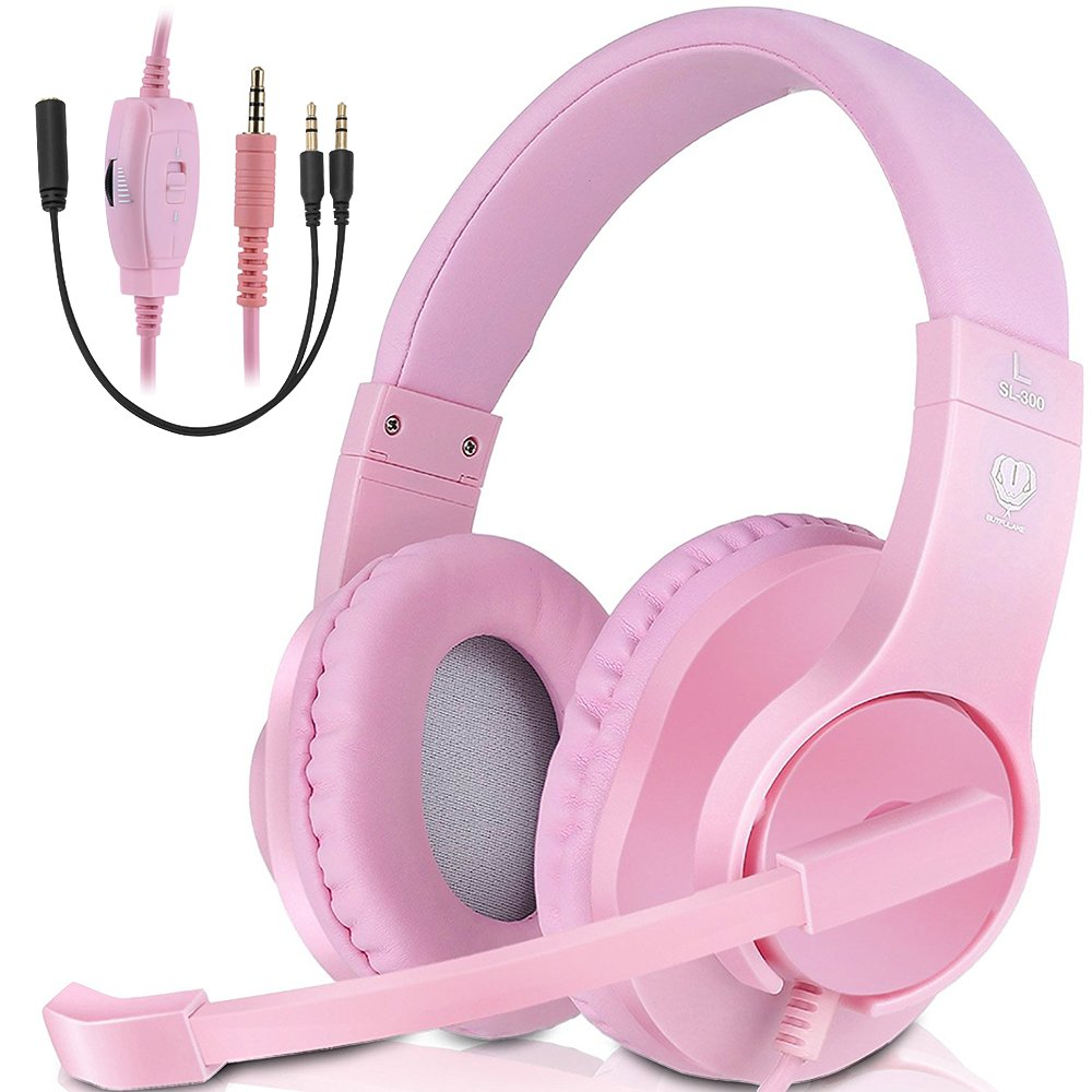 PC Stereo Gaming Headset, PS4, Xbox One Games Headphones with mic, Bass Surround, Volume Control, Noise Cancelling for Laptop, Controller, Mac (Pink)