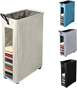 Henkelion Rolling Laundry Hamper, Collapsible Laundry Basket with Wheels And Handles, Tall Large Slim Narrow Foldable Storage Corner Bin with Visible Clear Window for Dirty Clothes - 27 Inches - Beige