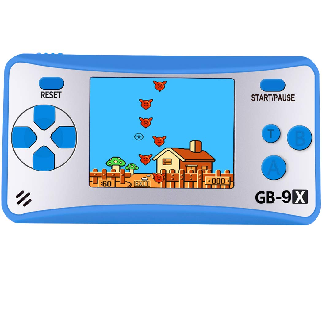 AOKLEE Handheld Games for Kids with Built in 168 Classic Retro Games 2.5'' Color Screen 3.5 MM Headphone Jack TV Output Children Handheld Game Player (Blue)