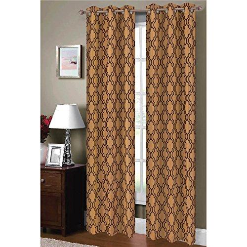 Window Elements Lattice Flocked Faux Silk 76 x 84 in. Grommet Curtain (Lattice Panel Bed)