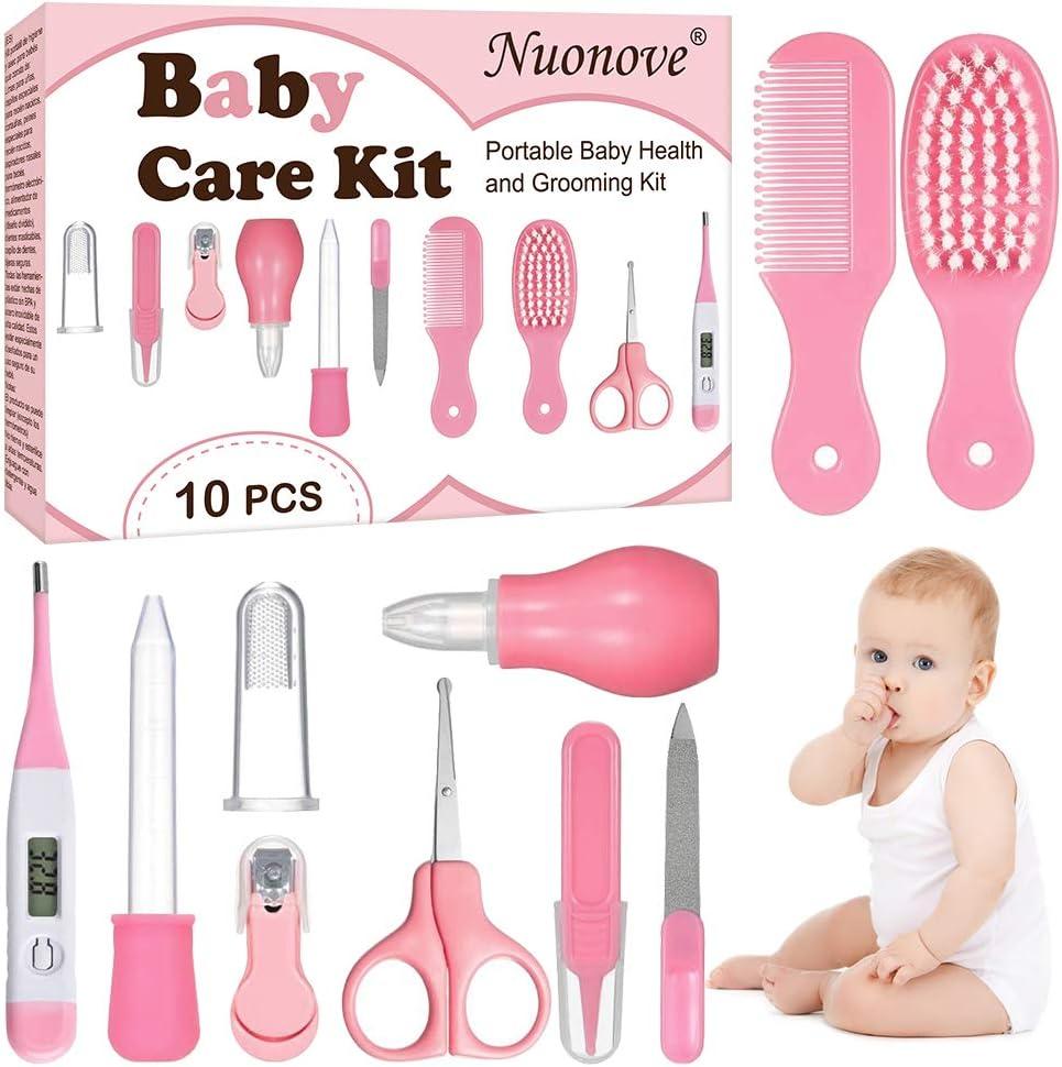 Set Para Cuidado Del Bebé, Bebé Kit de Cuidado Diario, Kit de Cuidado del Bebé, 10 Piezas Conveniente Bebé Kit de Aseo Nail Clipper Tijeras Cepillo de Pelo Peine Manicura