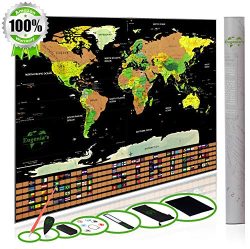 World Scratch Off Map Deluxe – Large Scratch Map for World Travel – 32.5 x 23.4 Laminate Black Color Scratch Travel Map Poster – Scratch World Map Travel Tracker with Outlined USA and Country Flags