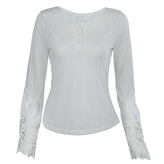SODIAL Blusa de Mujer Camisa de Gasa de manga larga O-cuello de encaje de