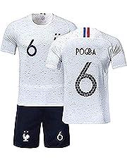 01506da2bd12e Yezelend Maillots de Football Enfants de France Soccer Jersey 2018 Coupe du  Monde France 2 Étoiles