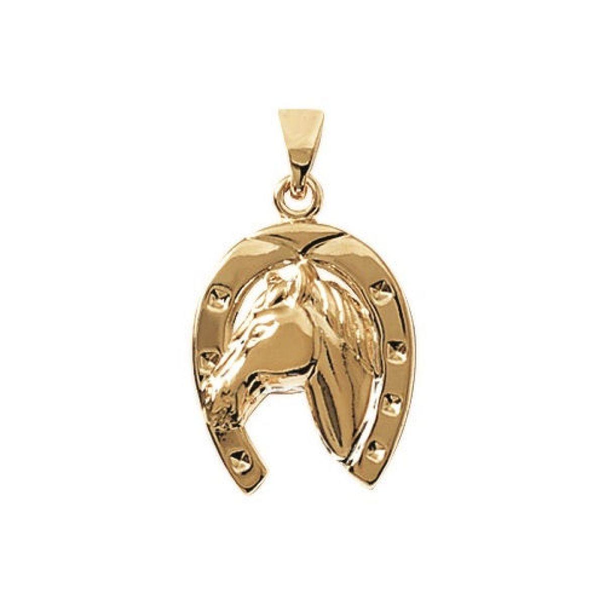 MARY JANE - Pendentif plaqué Or Femme/Homme - Larg:16mm / Haut:20mm - Plaqué or (Chance/Cheval / Fer à cheval)