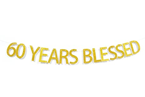Amazon.com: 60 Años Blessed Oro Glitter Hanging Sign banner ...