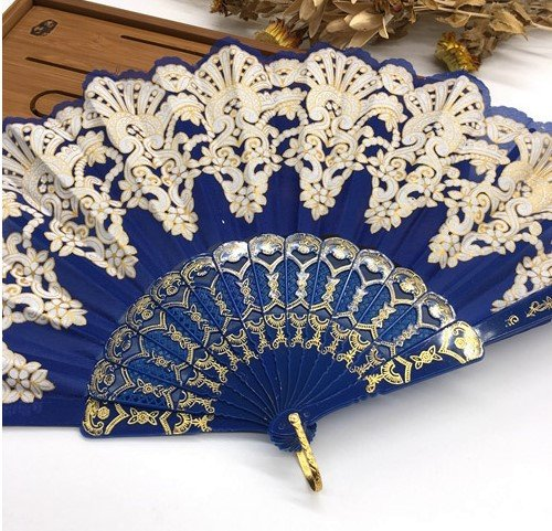 Deep Blue Plastic Hand Fan Sequins Rose Flower Embroidered Dancing Party Fan Wedding Favors Decoracion Fiestas