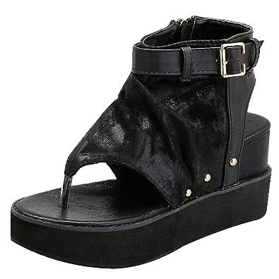 rismart Damen Keilabsatz T-Spange Plattform Offener Zeh Slingback Rutschen Riemchen Römischen Sandalen Schuhe SN02046(Silber,EU35)