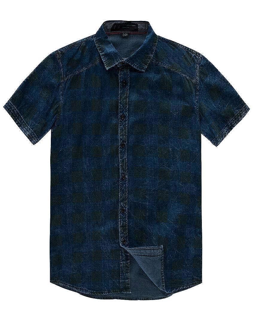 YUNY Men Fashion Skinny Breathable Cotton Plaid Short Sleeve Button Shirt Blue M