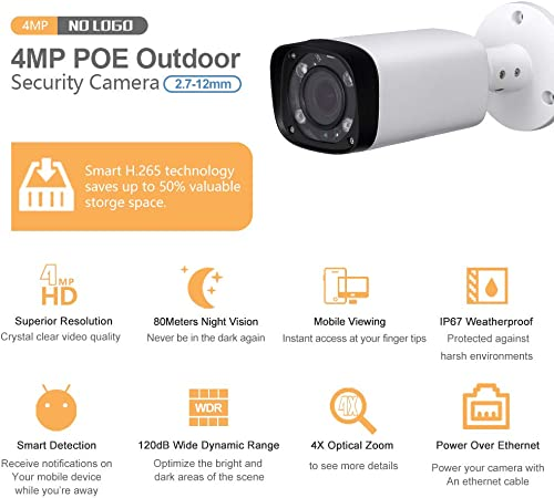 4MP Varifocal PoE IP Bullet Security Camera IPC-HFW4431R-Z 2.7mm 12mm VF Lens Motorized 4X Optical Zoom Outdoor Surveillance Camera,80m IR,Smart H.265,ONVIF,Waterproof,Compatible with Dahua Camera