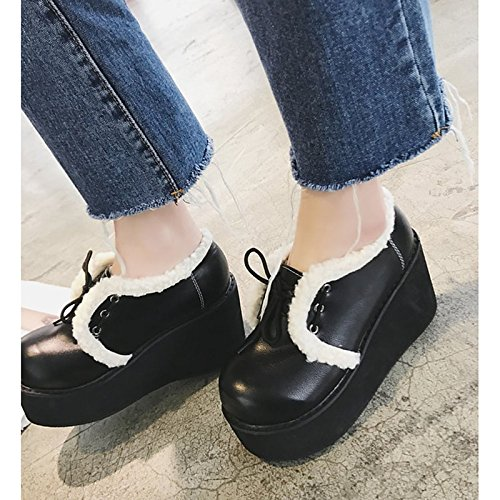 Toe Winter Casual for Fall Shoes Fashion Flat PU Round Comfort Brown Black Ankle Booties Boots Boots Heel Boots ZHZNVX HSXZ Black Women's wqOIIS