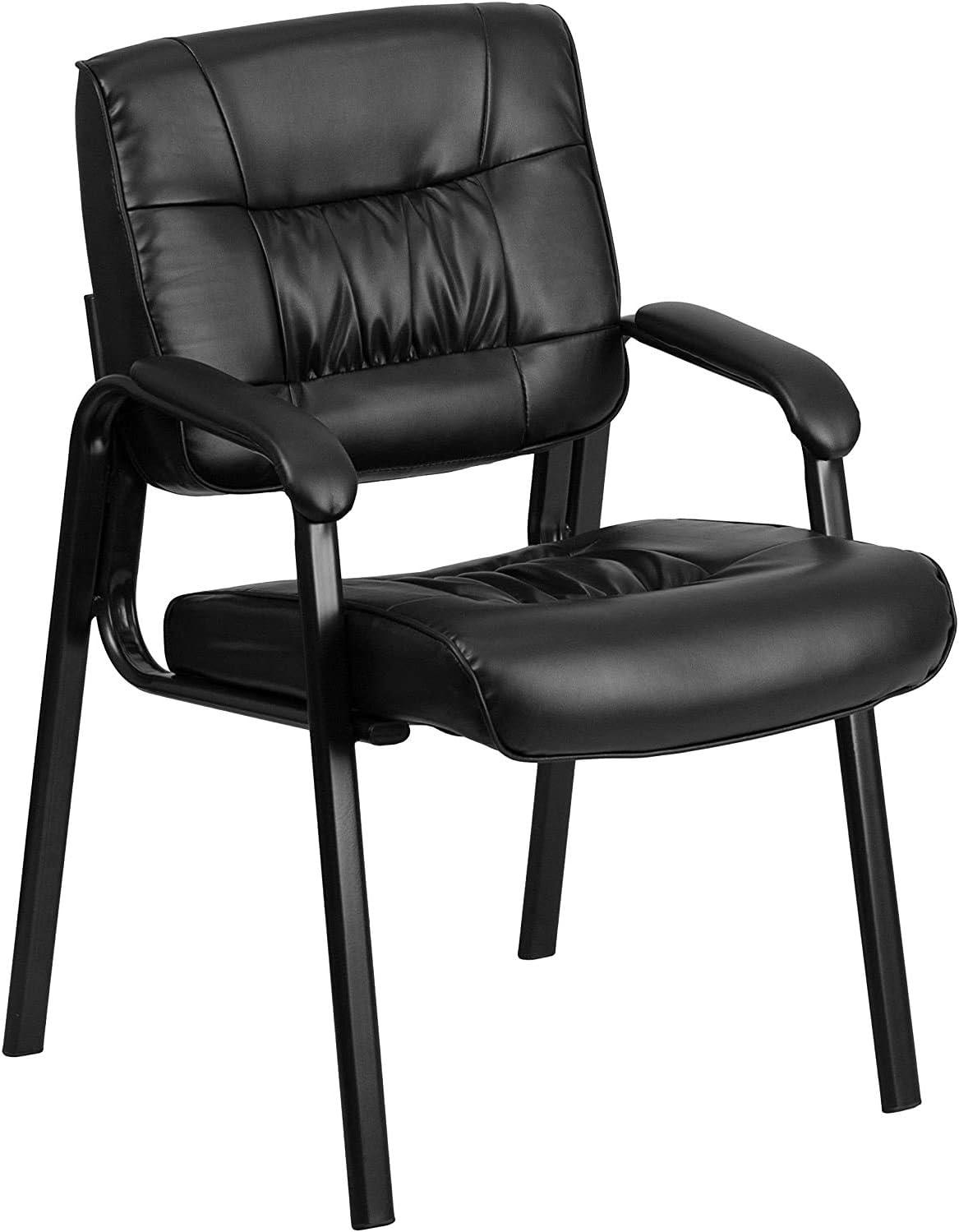 Flash Furniture Leather Side Chair, Black LeatherSoft/Black Frame
