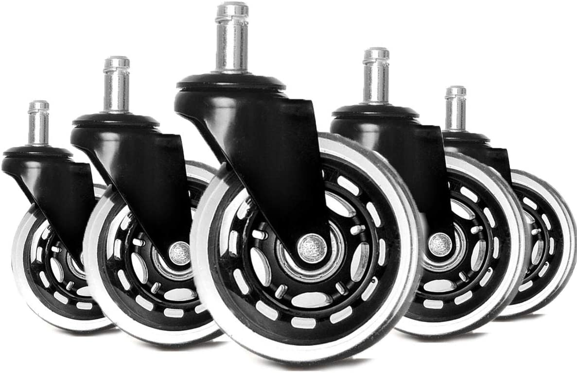 Gugou 3'' Heavy Duty Office Chair Rubber Caster Wheels Safe for All Floors