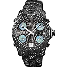 "JBW Men's JB-6213-B ""Jet Setter"" Black Ion Five Time Zone Diamond Watch"