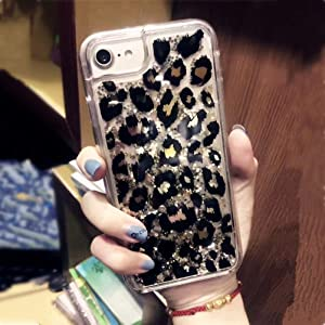 iPhone 7 Case, iPhone 8 Case,Doowear Leopard Sparkle Glitter Bling Liquid Case for Girls Women,Flowing Liquid Floating Soft TPU Bumper Hard Clear Case Phone Cover for Apple iPhone 7/ iPhone 8