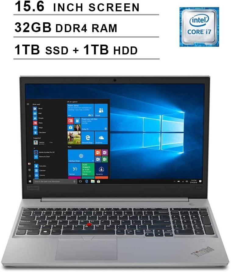 2019 Lenovo Premium ThinkPad E590 15.6 Inch FHD IPS Laptop (Intel Quad-Core i7-8565U up to 4.6 GHz, 32GB RAM, 1TB SSD + 1TB HDD, Intel UHD ?620, Bluetooth, WiFi, HDMI, Windows 10 Pro) (Silver)