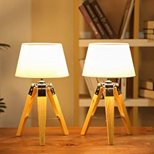 Simhoo Wooden Tripod Table Lamp 2pcs with White Fabric Shade Wood Desk & Night Stand Lamps for Bedroom,Livingroom,Office(Without Bulb)
