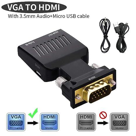 Lemorele VGA a HDMI Adattatore con Audio 1080P 60Hz VGA Maschio a HDMI  Femmina Convertitore con 4dc9a4e53151