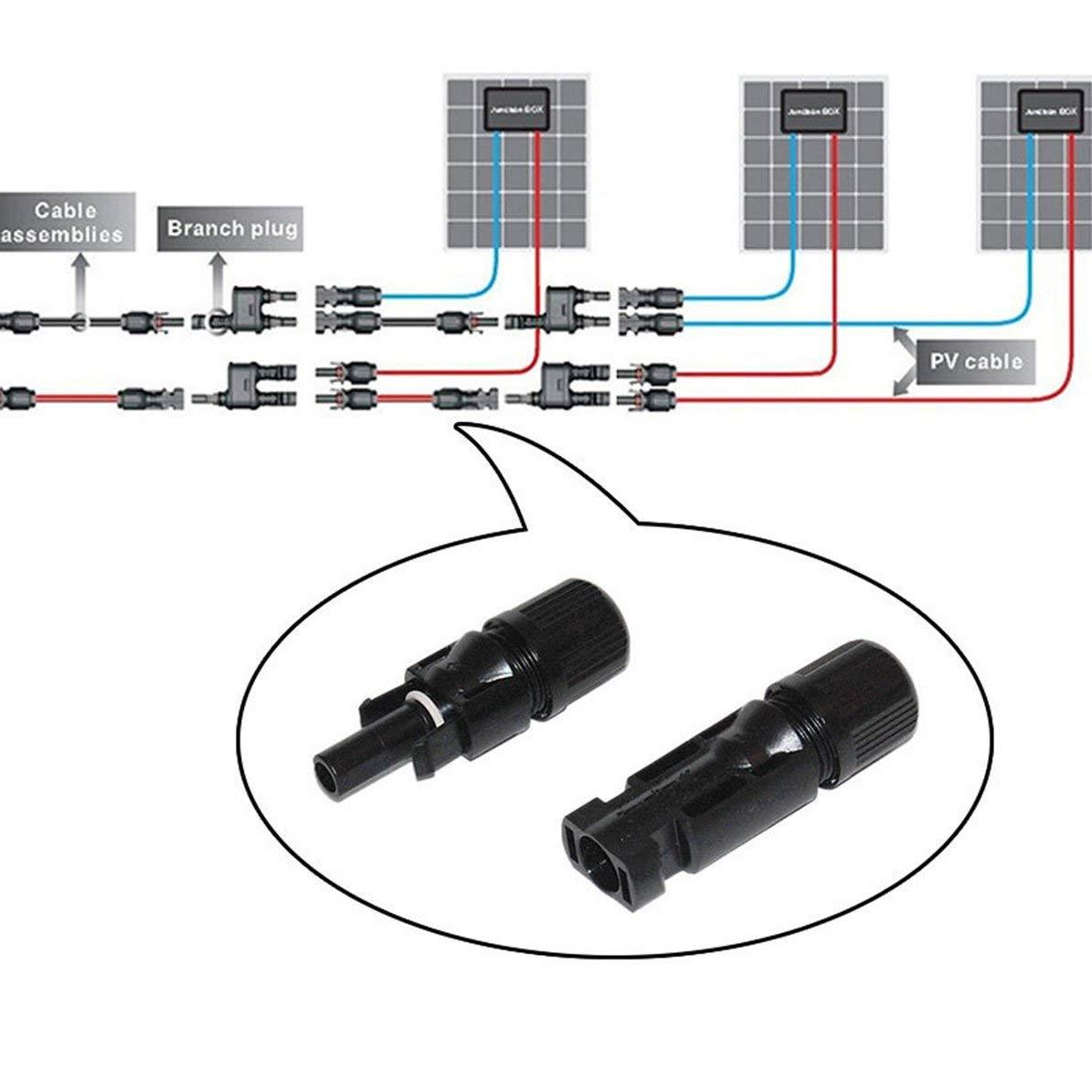 Corneliaa-FR 1 paire de connecteurs de c/âble MC4 pour panneaux solaires et syst/èmes photovolta/ïques