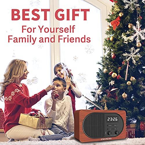 ENUOSUMA Retro Alarm Clock Radio, Bluetooth Speakers, FM Radio Speaker with Long Antenna, Loud Clock, Snooze, 5 Alarm Sounds & FM Radio Alarm, 12/24 Hours Mode, Support TF Card MIC AUX in, BS22