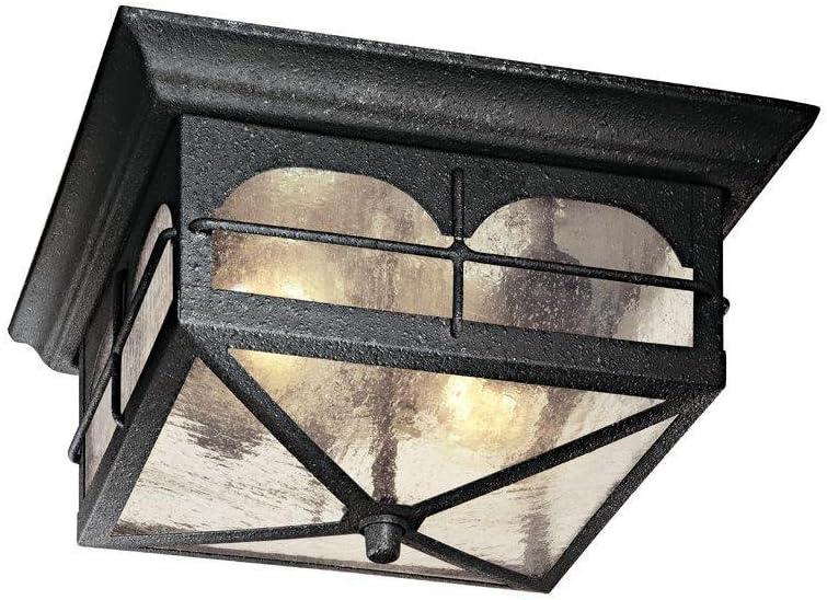 Brimfield Flushmount 2-light Outdoor Hanging Aged Iron Lantern