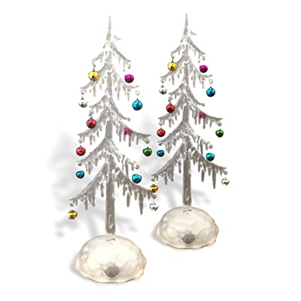 light up acrylic trees set of 2 led christmas trees miniature jingle bell ornaments