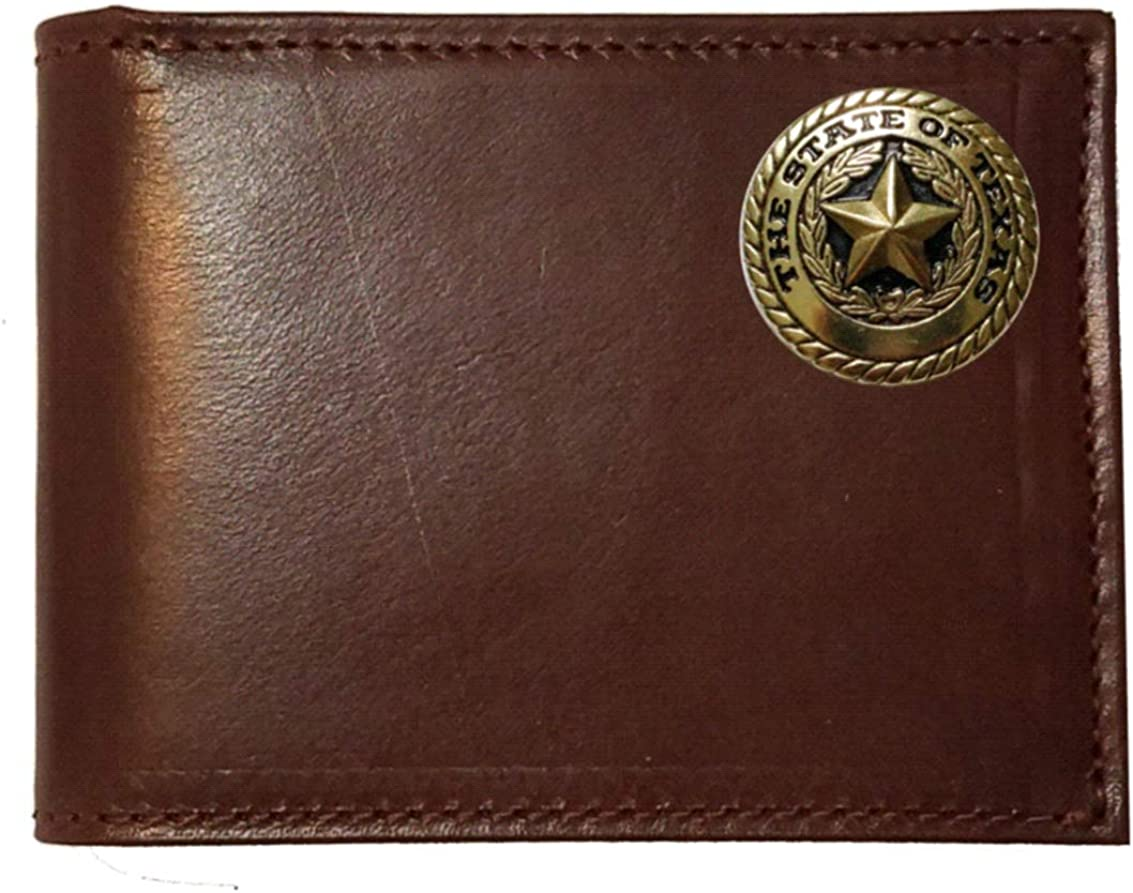 Proudly made in the USA. Custom Texas Gold Seal Chocolate Bi-fold Harness Leather Wallet with Flip ID