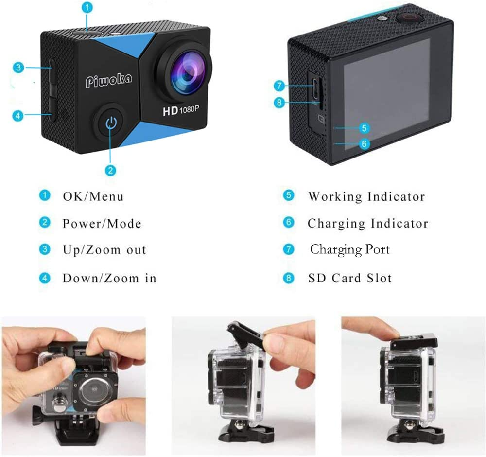 Piwoka Action Camera 1080P 12MP Waterproof Underwater 98ft Sports Camera 2 LCD Screen Wide Angle with Mounting Accessories Kit
