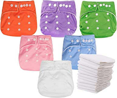 Baby Cloth Diaper Washable Waterproof Adjustable Pocket Nappy /& Bamboo insert 21