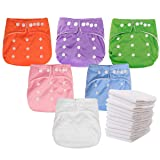 Kingrol 6 Pack Baby Cloth Diapers with 12 Insert