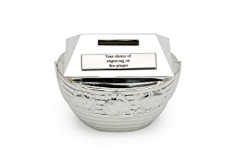 Personalised baby gift noahs ark boat silver plated money box personalised baby gift noahs ark boat silver plated money box gift negle Choice Image