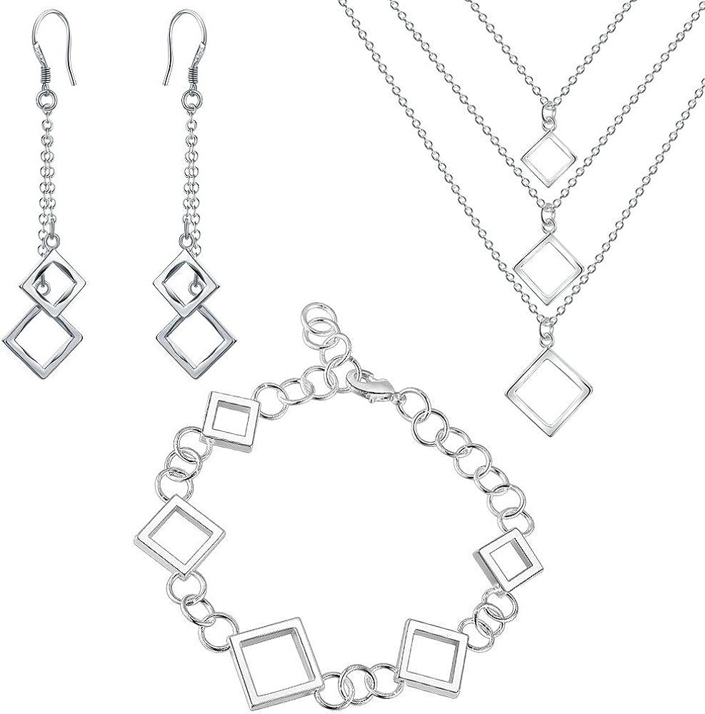 Onefeart Plateado Collar Colgante Aretes Bracelet Juego de Joyas Mujer Cuadrado Forma Regalos de Boda